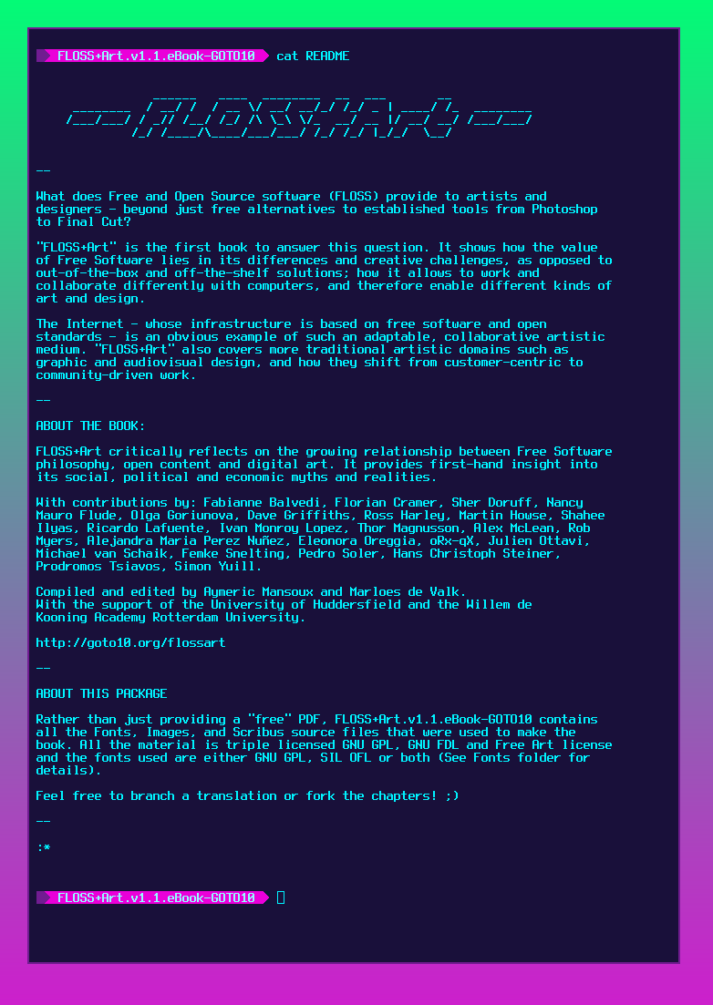Screenshot of the README file that comes with the source files.